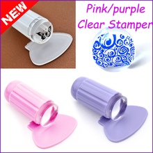 2016 New 2.8CM Transparent Stamp Nail Art Clear Plastic Plate Jelly Stamper Scraper Tool Set Manicure Polish Stamp Image Kit