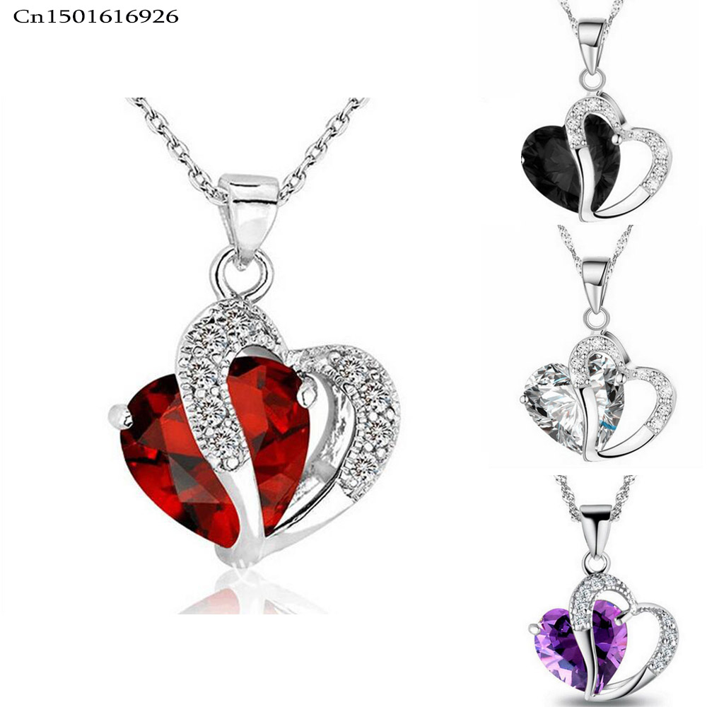 Free Shipping 9 Color Red Stainless Steel Alloy Acrylic Crystal Heart Pendant Necklaces For Women Wedding Fashion Jewelry(China (Mainland))