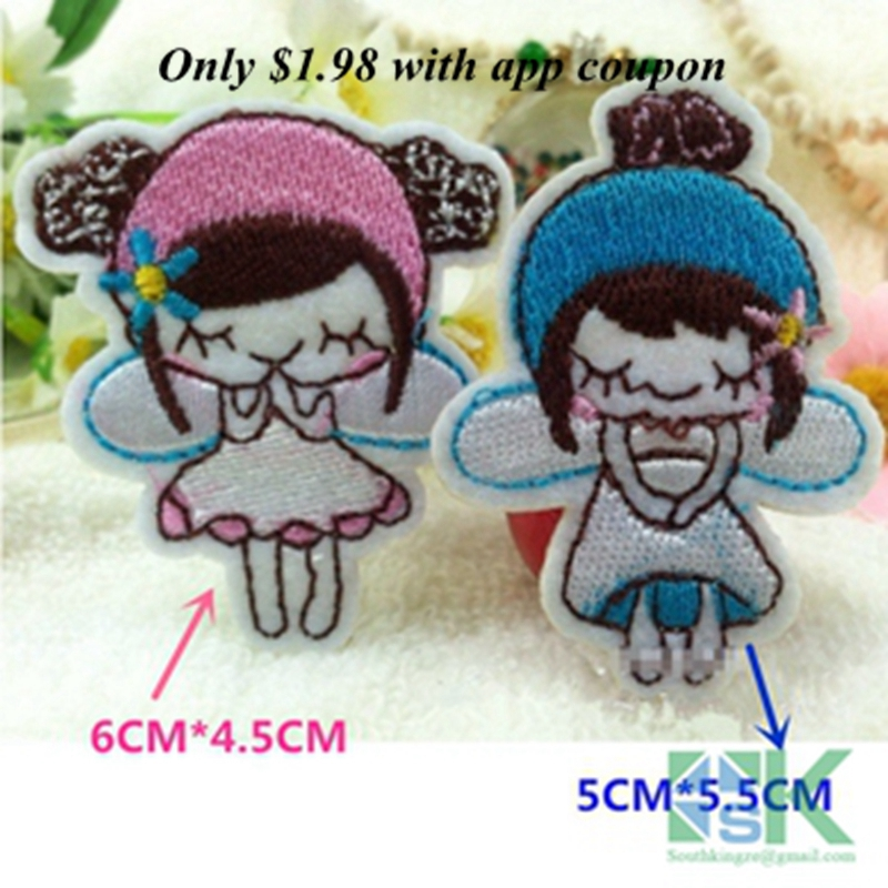 SK DIY Pathches 2pcs/lot Cartoon Kids Wish Angel Patch Girls Embroidery Iron On Patches For Clothes Appliques DIY Accessory A24(China (Mainland))