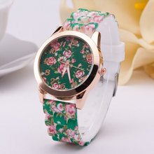 New Fashion Floral Pattern Silicone Quartz Gold Watch Women 2016 Casual Sports Dress Watches For Ladies Wristwatches Gift Clock