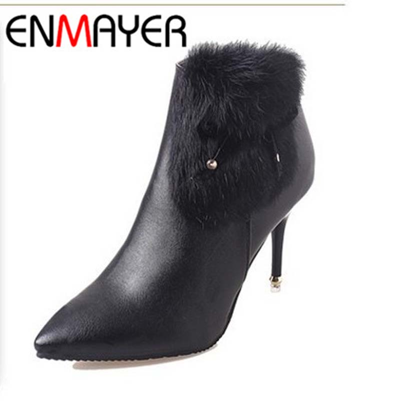 ENMAYER New Snow Boots Arrival Fashion PU Soft Leather High Heels Boots Pointed Toe Red Black Zipper Women Ankle Boots Sale<br><br>Aliexpress