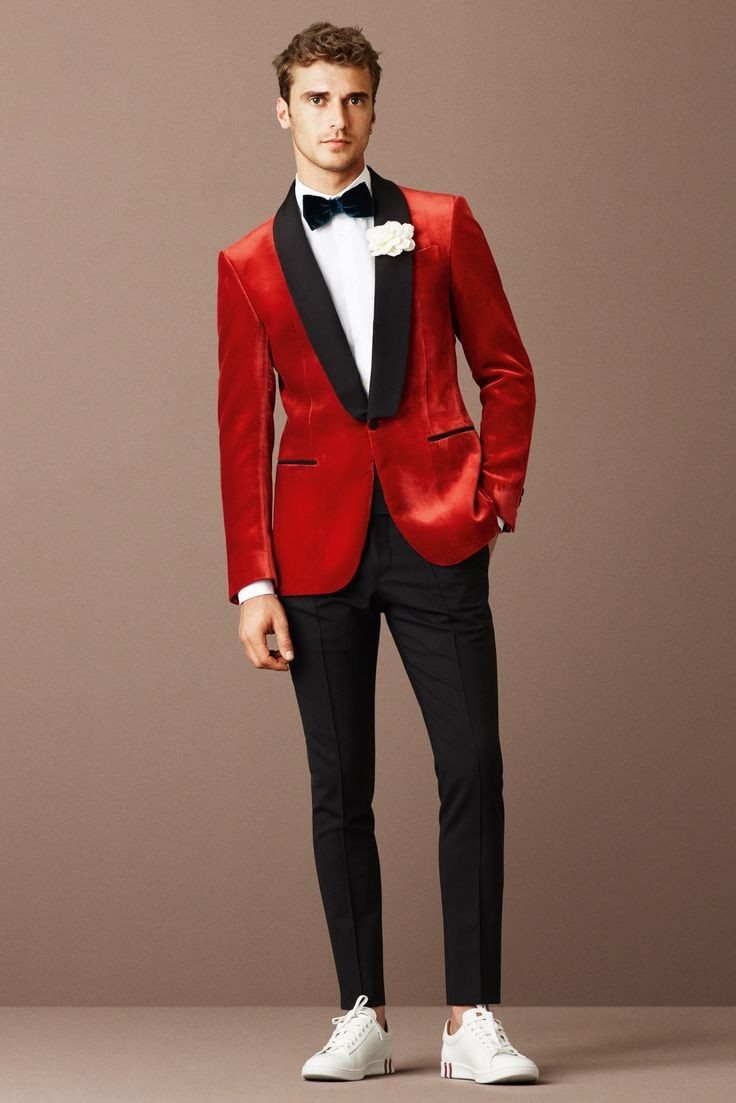 Red Blazer With Black Lapel