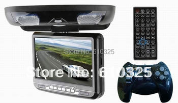 9 Inch Flip Down Car DVD Player Roof Mount DVD Player Flip Down Monitor Free Shipping Wholesale/Lot
