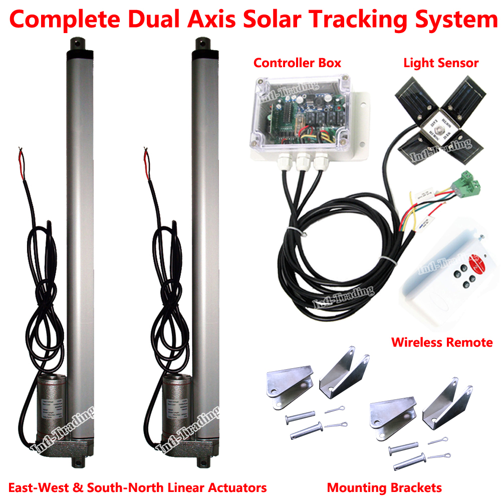 """1KW Solar Tracker Tracking System Dual Axis Complete Kits W/ 2PCS 12V 16"""" Linear Actuators W/ Electric Controller &Light Sensor(China (Mainland))"""