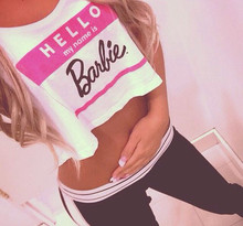 Women Sexy Casual Vest Crop Tops Hello my name is Barbie 3d Print Fashion Clothing Summer Style Tank Top Free Shipping(China (Mainland))