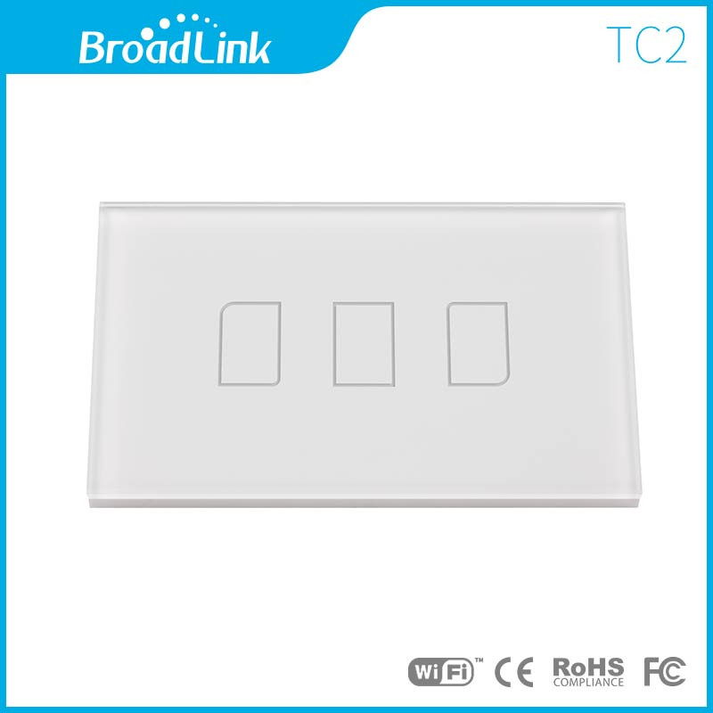 US/AU Standard Broadlink TC2 3 Gang Crystal Glass Panel Wireless Remote Touch Control Light Switch 220V, Smart Home Automation