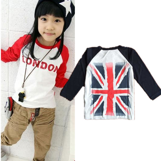 Girls Boys T-shirt childrens clothes rice word flag boys and girls long-sleeved T-shirt stitching casual t shirt bottoming<br><br>Aliexpress