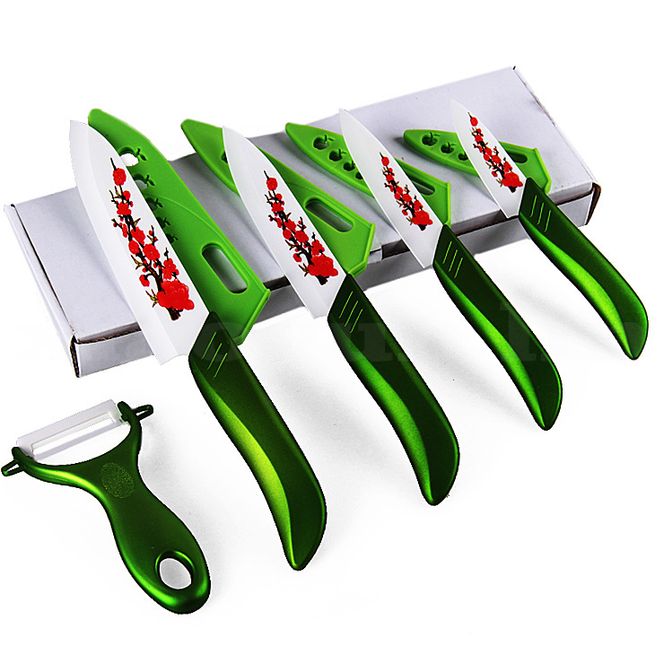 "kitchen knives 3""4""5 ""6"" in zirconia ceramic knife set + peeling machine + grater multi-color processing sheath free shipping(China (Mainland))"