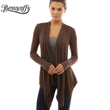 Benuynffy Fashion Spring Autumn Cardigan Women Blouses Solid Long Sleeve Casual Tops Blusa Feminino Open Stitch Women Clothing(China (Mainland))