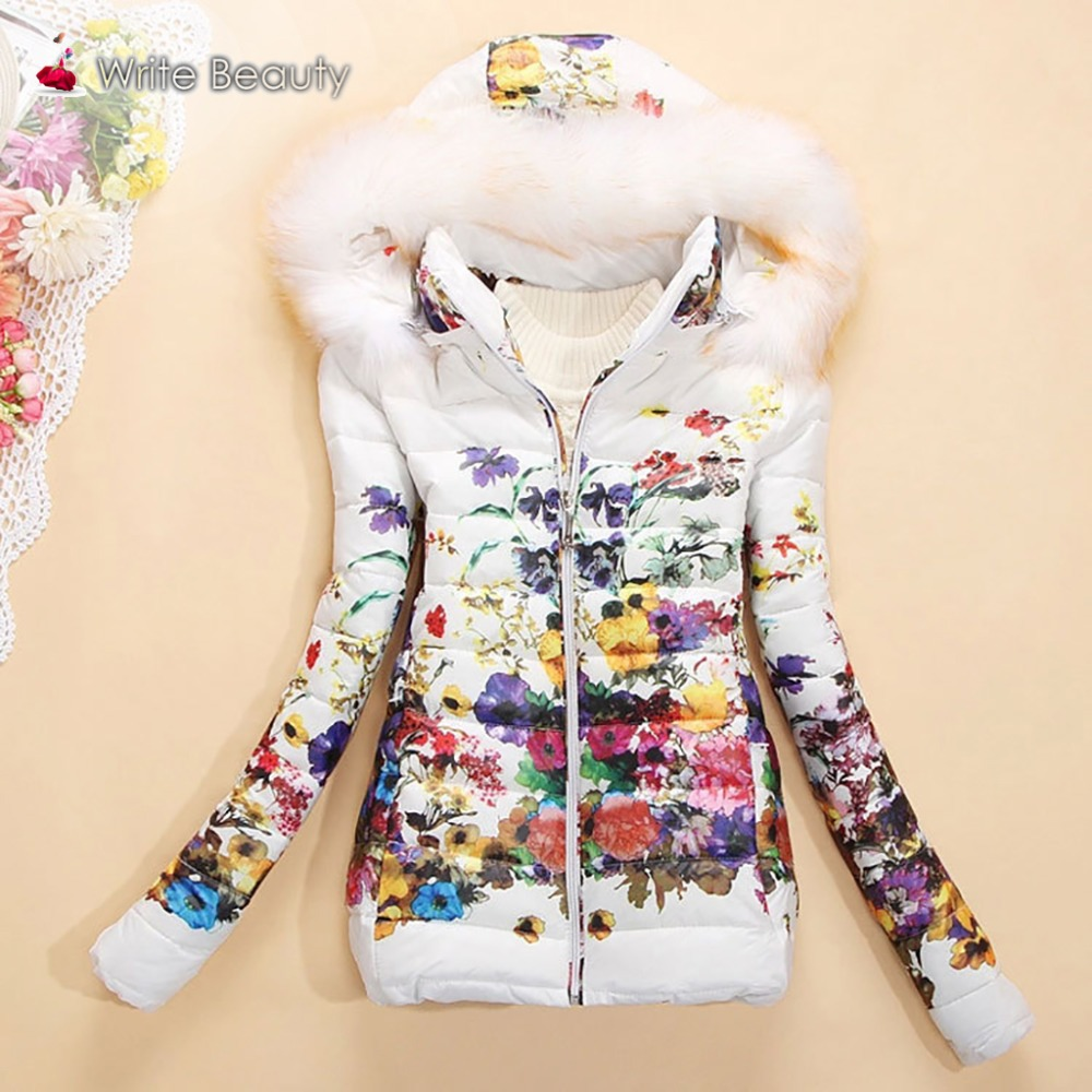2015 New Arrival winter jacket women fashion down cotton jacket Floral printing long sleeve Slim short fur collar hooded coat(China (Mainland))