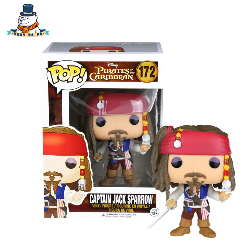 [QuanPaPa] Genuine Original FunKo POP Pirates of the Caribbean JAKE 172 Model Action Figure doll car Decoration kids toys