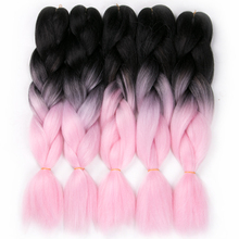 VERVES 10 piece 24'' Synthetic yaki straight 100g/pcs ombre Braiding Hair extensions,high temperature Fiber,pink color(China (Mainland))