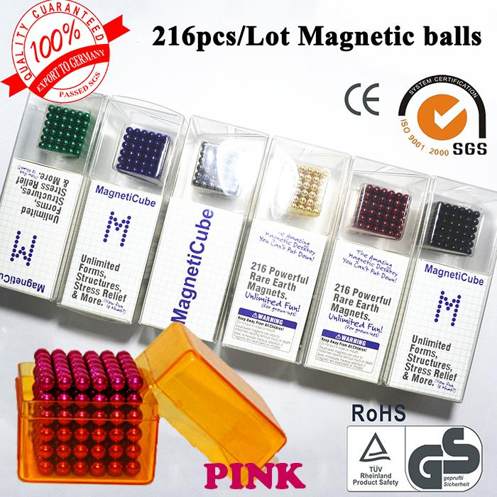 Puzzle cube 5mm Neo cube 216/set Buckyballs,Magnetic Balls, neocube, magic cube color : Pink(China (Mainland))