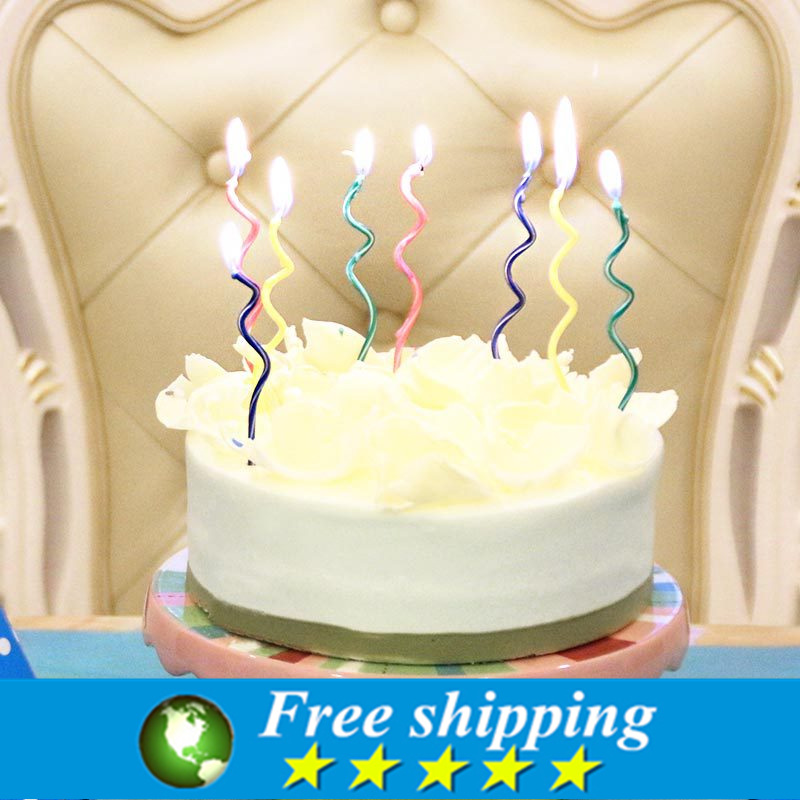 16pcs High Quality Creative color curve birthday cake candles Spiral candle,Free shipping.(China (Mainland))