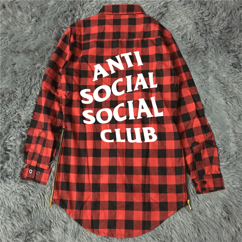 Anti Social Social Club Falnnel Shirt Men Letter Supremo Box Logo ASSC Hip Hop Palais Skateboards Camisa Harajuku Autumn Shirts(China (Mainland))