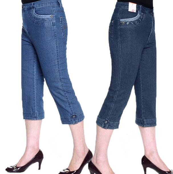 2016 new spring summer middle age women jeans capri pants high waist cotton straight denim pants plus size D1129(China (Mainland))