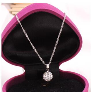 Shamballa Jewelry Pendant Necklaces, White New Shamballa Necklaces Micro Pave CZ Disco Ball Beads, Shamballa Necklaces SHN002(China (Mainland))