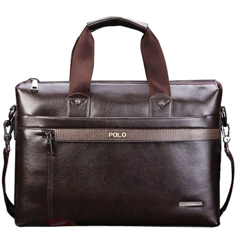 Promotion Genuine PU Leather Men's Briefcase Designer Man Zipper Handbag Fashion Dress Messenger Bag for Men Brown Color VP-3
