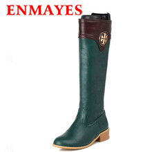 ENMAYES Brand Sexy Knee-high Riding Boots Martin Boots Winter Recreation Thick High Heel Platform Boots Large Size 34-43