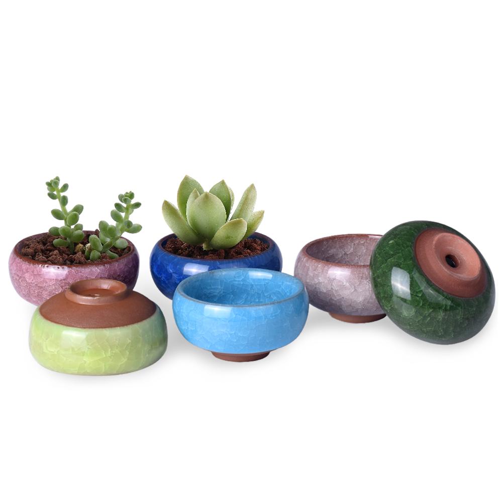 "WITUSE Cute Ice-Crack Bonsai Ceramic Flower Pot Succulent Plants Potted Desk Decor Glazed Ceramic Pot For Home Office 2.5*1.3""(China (Mainland))"