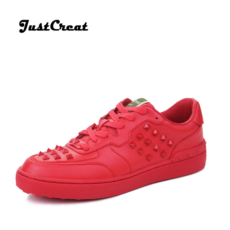 2016 News Top Fashion Mens Shoes Trainers All-match Red Black Genuine Leather Shoes Man Flat Rock Rivet Trend Runner White Shoes(China (Mainland))