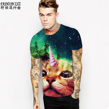 New Fashion Space/Galaxy men brand t-shirt funny 3D print super Explosion cat / horned cat t shirt summer tops tees  Plus size