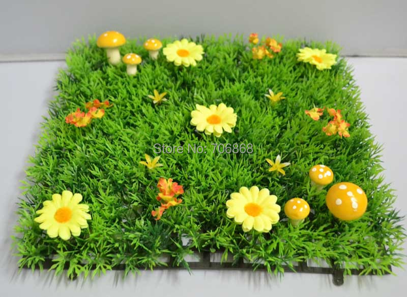 2016 NEW!!!25*25cm artificial plastic decorative dense grass mat boxwood mat with yellow mushroom and yellow flowers(China (Mainland))