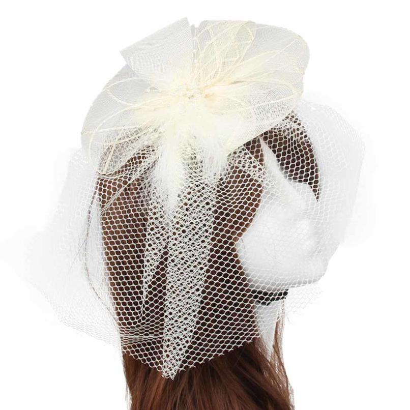 Attractive Wedding Fascinator Veil Feather Hard Yarn Headband Hats Women Brides Hair Accessories JE24(China (Mainland))