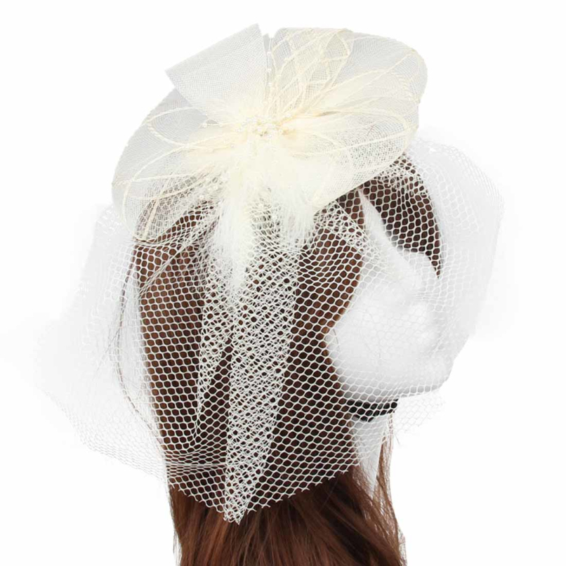 Attractive Wedding Fascinator Veil Feather Hard Yarn Headband Hats Women Brides Hair Accessories JE24(China (Mainland))