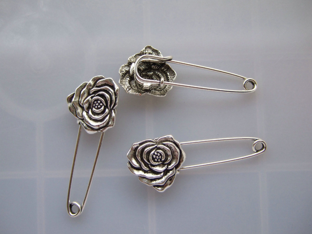 10pcs Silver Tone Strong Metal font b Kilt b font Scarf Brooch Safety Pin With Rose