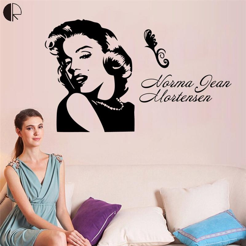 Fashionable Marilyn Monroe Plastic Carved PVC Wall Stickers Home Decor Vinyl Wall Decal Vintage Poster For Bedding Room HH1344(China (Mainland))