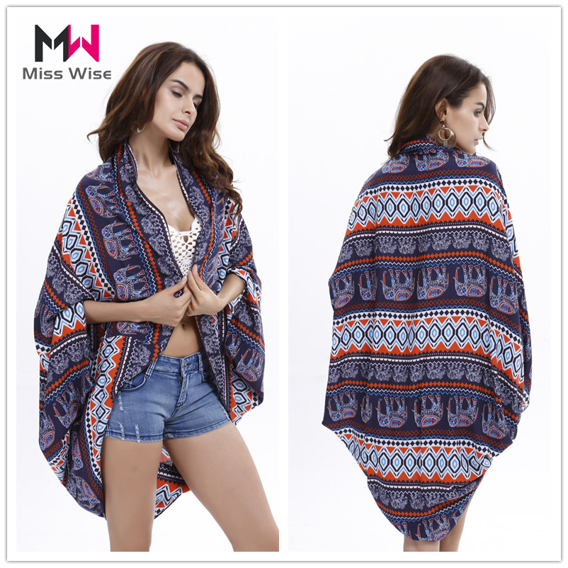 Fashion Women 2016 New Arrival Print Light Beach Cover-up Women's Vintage Style Casual kimono Top Blouse(China (Mainland))