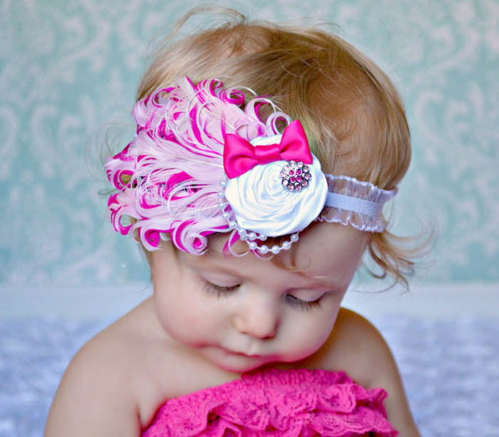 Fashion Top Selling Baby Hats /Toddle Head Band Fashion Design Baby Dedicated Feather Flower Modelling of Diamond Hair Band Anne(China (Mainland))