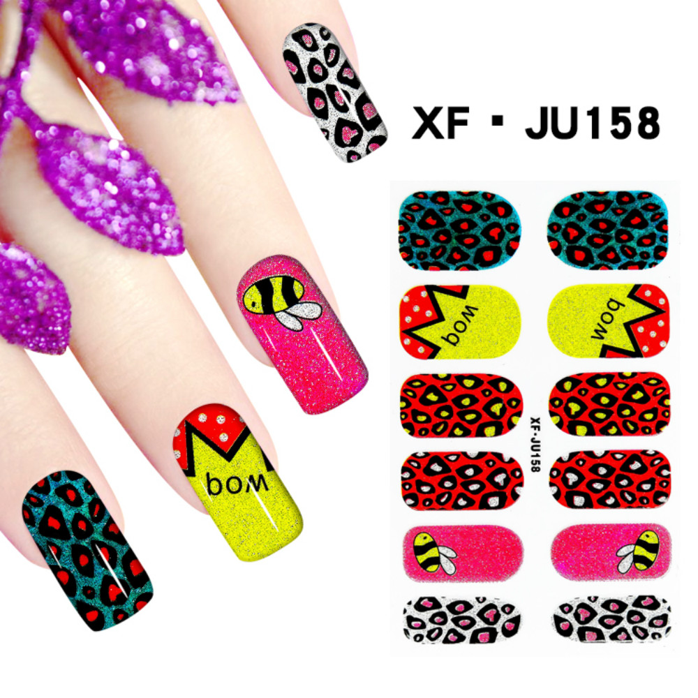 JU158 Free Shipping 3D Full Nail Strips Beautiful Nail Art Stickers With One Nail File Ju158 Buy One Get Two Total 3 Pack(China (Mainland))