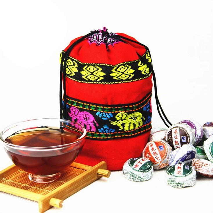 Free shipping 50 Pcs Different Flavors Tea Chinese Top-Grade Raw and Cooked Pu'Er Tea,Yunnan Puer tea, Mini Pu'erh Tuocha(China (Mainland))