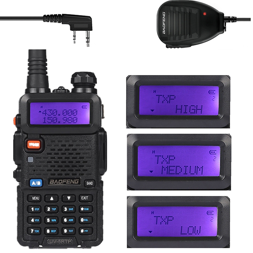 Baofeng UV-5R TP 136-174/400-520MHz Dual Band FM High Power 1/4/8W Two Way Ham Radio Walkie Talkie + uv5rtp Remote Speaker(China (Mainland))