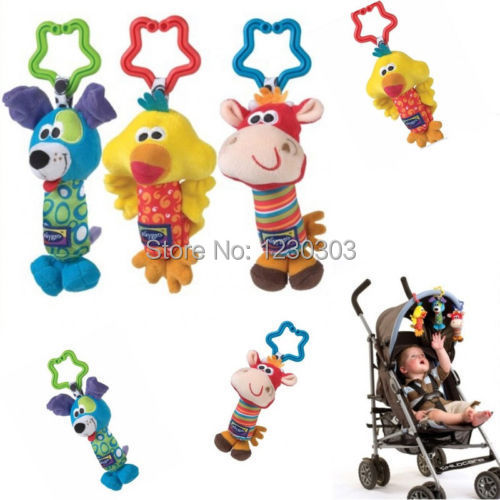 Kids Baby Soft Toy Animal Handbells Rattles Bed Stroller Bells Developmental Toy order remark colors blue ,yellow ,red(China (Mainland))