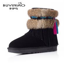 2016 Diseñador de la Marca Mujeres Botas de Nieve de Las Borlas de Invierno Botas Buena Calidad Zapatos de Cuero Genuino Botas de Mujer de piel de Conejo Angola(China (Mainland))