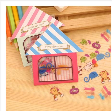 FREE SHIPPING DIY Sticker Cartoon House Adorable Creative Mobile Phone Decoration Gift 16packs/lot say hi 41105(China (Mainland))