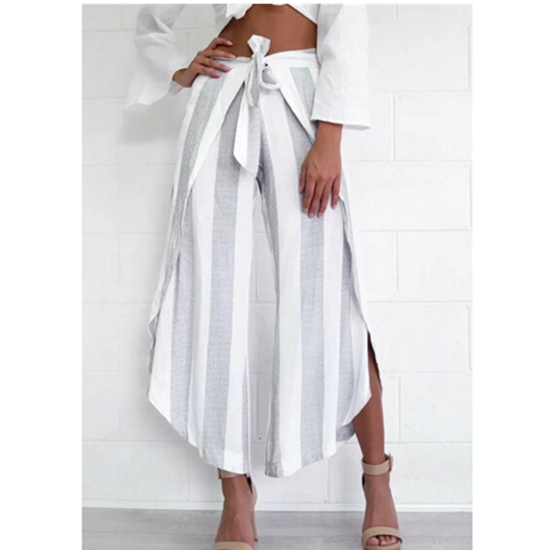 2016 Retro Striped print Irregular Wide Leg Pants With Sashes New Women Long Trousers Femme Casual Pants