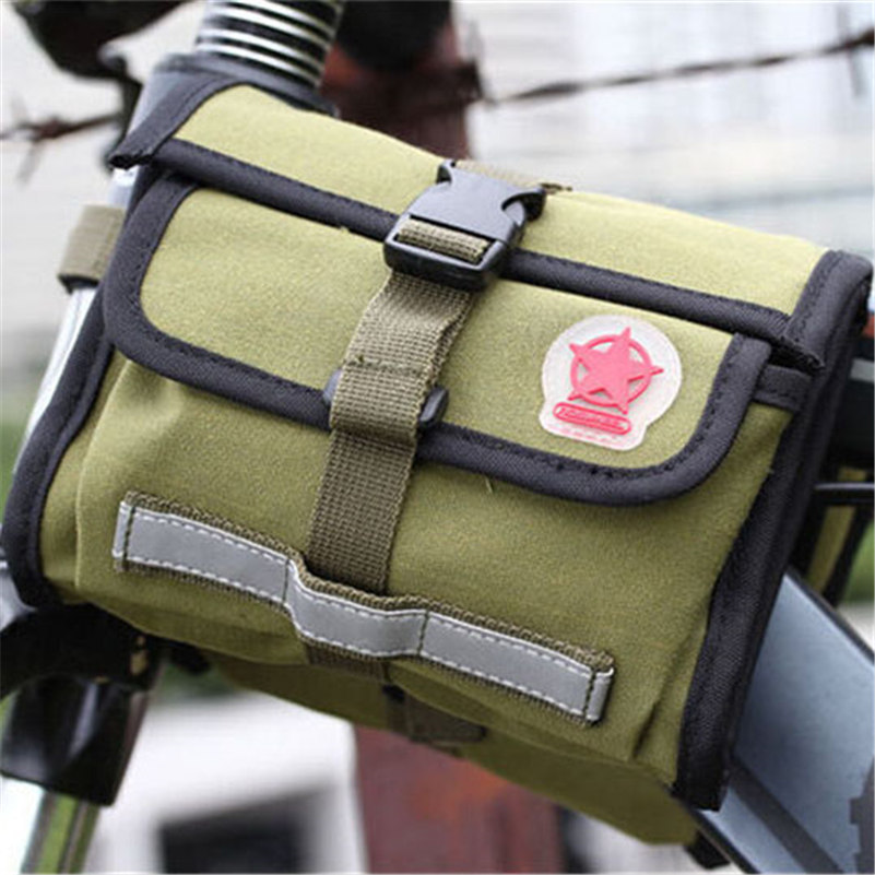 WEST BIKING Quality Canvas Bike Bag Brand Bicycle Front Tube Bag Storage Cellphone Waterproof Green Military Riding Cycling Bag(China (Mainland))