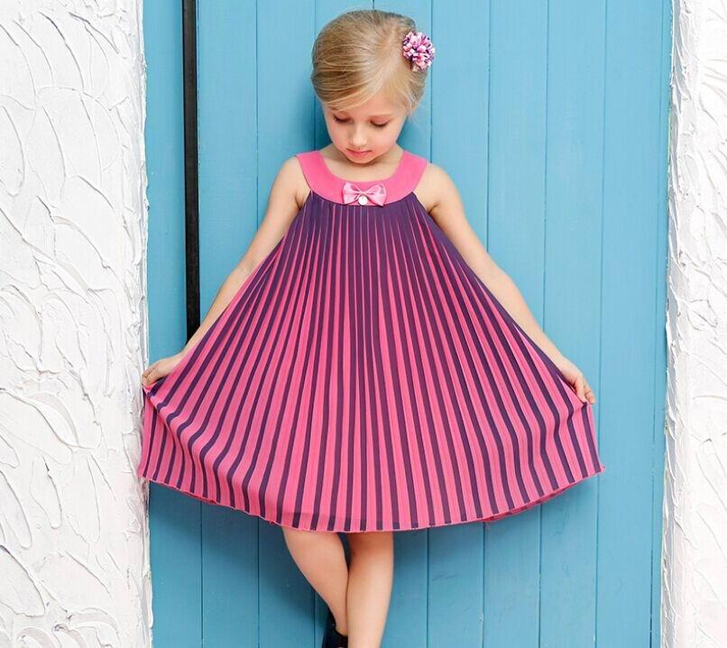 Retail 2016 Summer New Girl Dress Gradients Color Chiffon Sundress Children Clothing 3-14T 1093(China (Mainland))