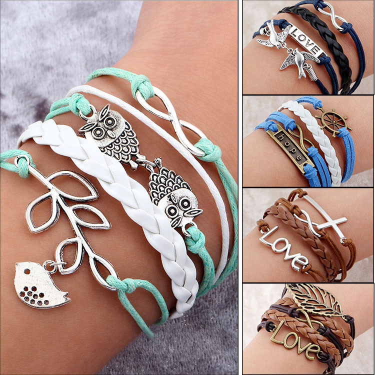 Juegos Del Hambre Vintage Bird Owls Anchors Bracelet Wrap Leather Bracelet Charm bracelets pulseira couro bracelets for women(China (Mainland))