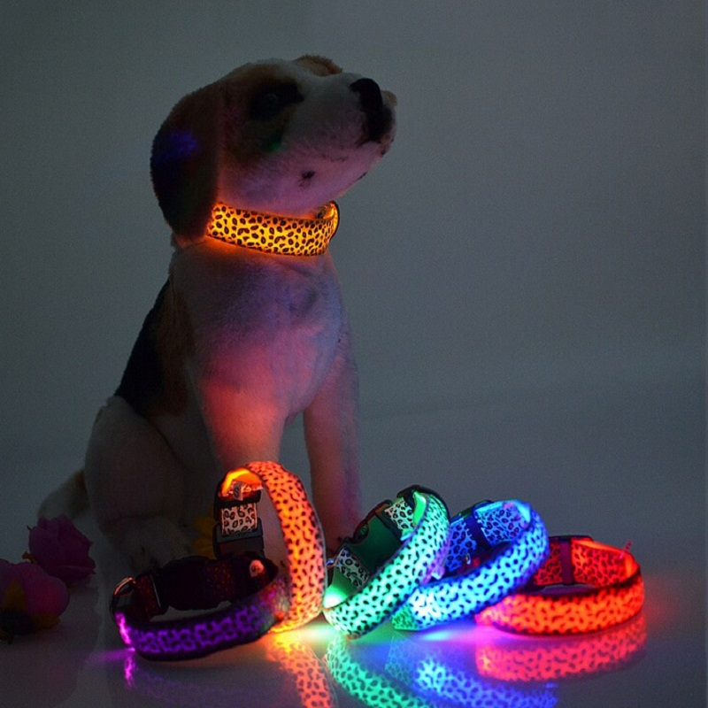 High quality Adjustable Nylon Pet Dog Leopard Collar Night Safety Glow LED Light-up luminous Flashing Pets Cat Dogs Neck Strap(China (Mainland))