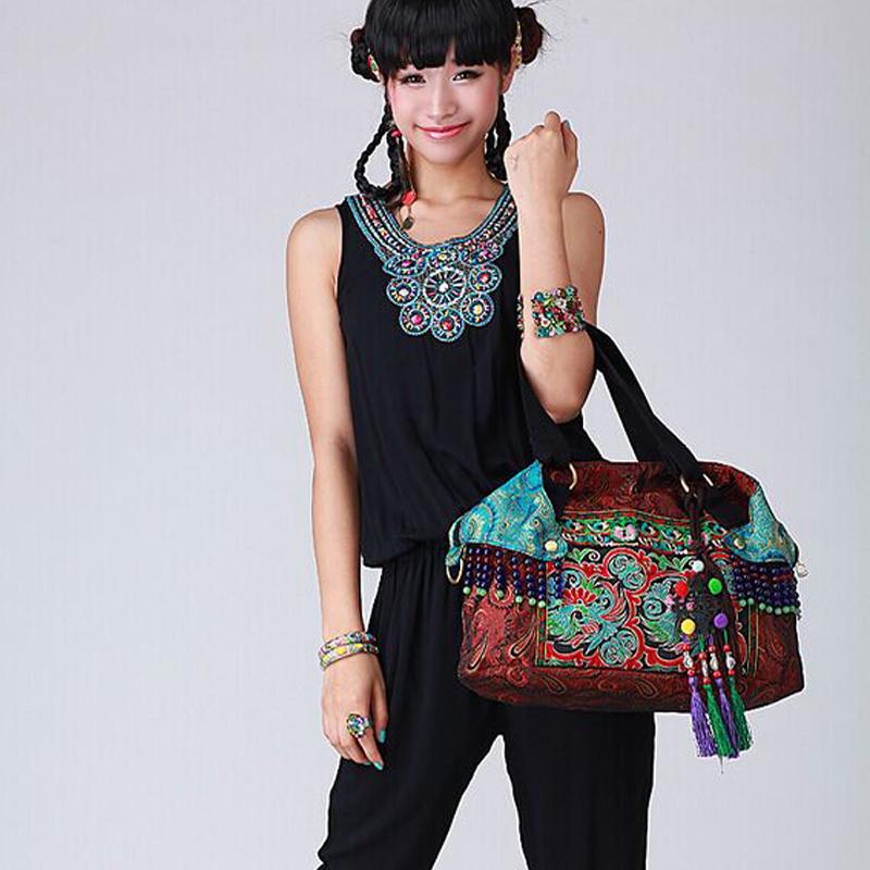 Newest Bohemia Silk brocade double-sided embroidery women handbags Ethnic Vintage handmade Beaded tassel shoulder crossbody bags(China (Mainland))