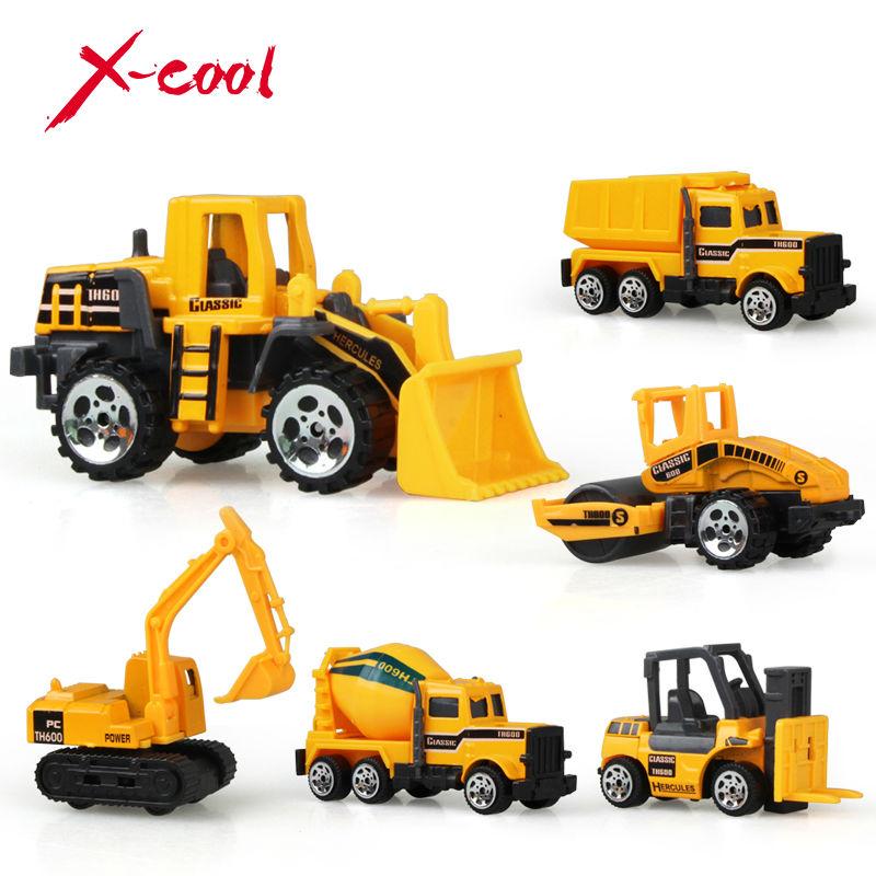 XC1355 6 types Diecast mini alloy construction vehicle Engineering Car Dump-car Dump Truck Model Classic Toy Mini gift for boy(China (Mainland))