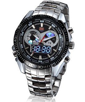 2014 New High Quality Stainless Steel Black Mens Military Blue Binary LED Pointer Watch Mens 30AM Waterproof sports Watches<br><br>Aliexpress