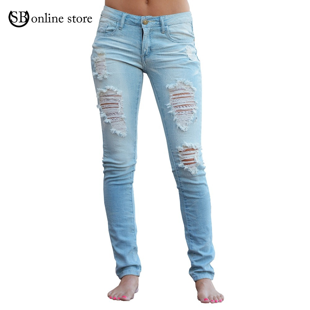Женские джинсы Ripped jeans 2015 jeans women KZ6319 chic women s ripped skinny jeans