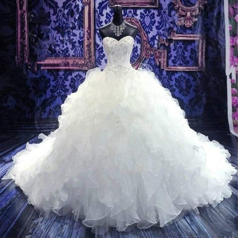 Hot Sale In Stock Ball Gown Wedding Dress 2015 Exquisite Embroidery Beaded Vestido De Noiva Cathedral Train Wedding Dresses(China (Mainland))