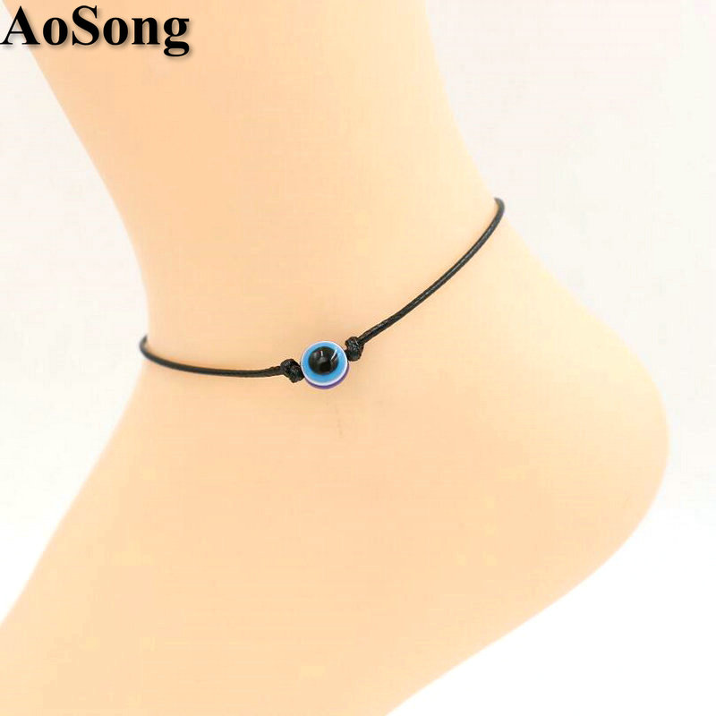 AoSong Evil Eye Leather Anklets Women Valentine's Gift Ankle Red Rope Lucky Bracelet Cheville Sandals Pulseras Tobilleras Mujer(China (Mainland))